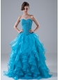 Beading adnRuffles Sweetheart Organza Beading Floor-length A-Line Prom Dress