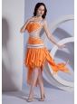 Beading and  Ruching Decorate Bodice Ruffles Straps Asymmetrical 2013 Prom Dress