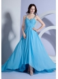 Beading Decorate Bodice Straps Light Blue Empire Brush Train 2013 Prom Dress