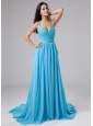 Beading Empire Straps Court Train Chiffon Prom Dress Blue