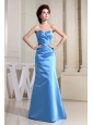 Blue Sweetheart and Ruch For Simple Custom Made Bridemaid Dress