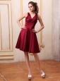 Burgundy Bridemaid Dress V-neck Knee-length Satin