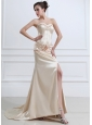 Champagne Prom / Evening Dress With Beaded High Slit Court Train Elastic Woven Satin Sweetheart