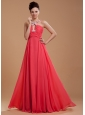 Coral Red Prom Dress With V-neck Beaded and Appliques Chiffon For Custom Made