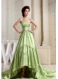 Custom Made Yellow Green Prom Celebrity Dress A-Line Strapless Court Train In 2013