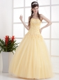Gold Beautiful Strapless Prom Dress Appliques and Ruch With Floor-length