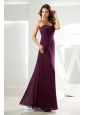 High Slit Beading One Shoulder Burgundy Column Bridemaid Dress