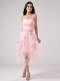 Lovely Baby Pink Prom Dress With Beaded Decorate and Ruch Sweetheart Ruffles Organza In 2013