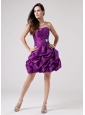 Luxurious Eggplant Purple 2013 Prom Cocktial Dress With Beaded Decorate and Ruch Strapless Taffeta