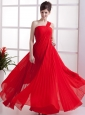 One Shoulder Red Pleated floor-lenght Empire Chiffon Prom Dress