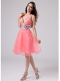 Paillette V-neck Organza A-Line Knee-length Prom Dress Watermelon
