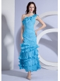Pleat Decorate Bodcie One Shoulder Aqua Blue Ankle-length 2013 Prom Dress