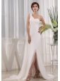 Pretty High Slit Column Wedding Dress One Shoulder Beading