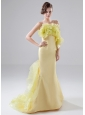 Prom Dress Strapless Organza Brush / Sweep Mermaid Yellow