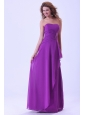 Purple Bridemaid Dress Strapless Chiffon Floor-length
