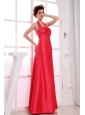 Red A-Line Floor-length Taffeta Party Halter 2013 Bridemaid Dress