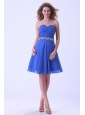 Royal Blue Bridesmaid Dress With Sweetheart Appliques Knee-length Chiffon