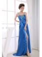 Royal Blue Prom / Evening Dress With Spaghetti Straps Appliques and Beading High Slit