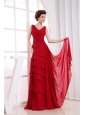 Ruffled Layers Wine Red Chiffon V-neck 2013 Prom Dress Floor-length