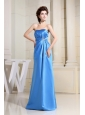 Sky Blue Prom Dress With Strapless Floor-length Satin