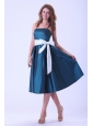 Spaghetti Straps Bridemaid Dress With White Sash Bowknot Tea-length Taffeta
