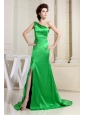 Spring Green Prom Dress With One Shoulder High Slit Brush Train