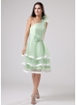 Sweet Apple Green Ruffled Layeres 2013 Prom Dress One Shoulder Hand Made Flowers and Sash