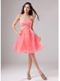 Sweetheart A-Line Organza Beading Mini-length Prom Dress Watermelon