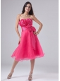 Sweetheart A-Line Organza Knee-length Hand Made Flowers Prom Dress Hot Pink