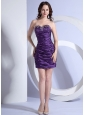 Sweetheart Column / Sheath Mini-length Prom Dress Purple Beading Taffeta