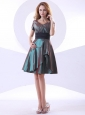 V-neck Knee-length Short Sleeves A-line Taffeta 2013 Bridemaid Dress