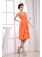 V-neck Orange Knee-length Ruching Bridesmaid Dress For 2013