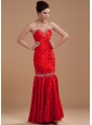 Wine Red Prom / Evening Dress With Beaded Sweetheart Floor-length Taffeta Mermaid