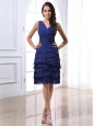 V-neck For Royal Blue Prom Dress With Ruffled Layers and Hand Made Flowers