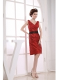 V-neck Neckline Wine Red Taffeta Black Sash Knee-length 2013 Prom Dress