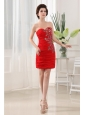 Appliques Sweetheart Chiffon Column Mini-length Red Prom Dress