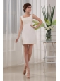 Beading Square Column Satin Mini-length White Prom Dress