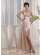 Ivory Prom Dress Empire Halter Brush Train Taffeta Beading and Ruch
