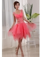 Sexy A-Line Knee-length Straps Organza Beading Prom Dress Watermelon