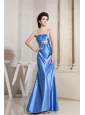 Beading Sky Blue Prom Dress With Straps Floor-length Satin