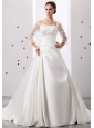2013 A-line Square So Beautiful Wedding Dress With Ruch and Appliques Satin For Church