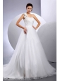 2013 Custom Made A-line Wedding Dress With One Shoulder Hand Made Flower Court Train
