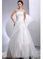 2013 Wedding Dress With Appliques A-line Court Train For Custom Made