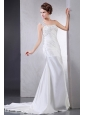 2013 Wedding Dress With Appliques One Shoulder Court Train For Custom Made
