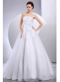 2013 Wedding Dress With Hand Made Flower and Ruching A-line Cathedral Train