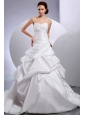 2013 Wedding Dress With Sweetheart Ruching and Pick-ups Chapel Train For Custom Made