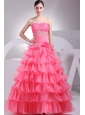 Appliques and Ruching Decorate Bodice Ruffled Layers Watermelon Red 2013 Prom Dress