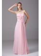 Beading and Ruching Decorate Bodice Pink Chiffon Floor-length 2013 Prom Dress