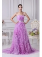 Beading and Ruffles Decorate Bodice Lavender Prom Dress For 2013 Brush Train Organza