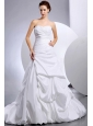 Beautiful Wedding Dress With Pick-ups and Ruching A-Line Court Train